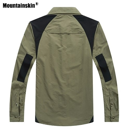 Mountainskin Men's Summer Hiking Shirts Quick Dry Outdoor Sports Breathable Fishing Trekking Camping Thin Splice Clothing VA619
