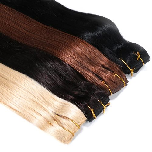 """Full Head Brazilian Machine Made Remy Hair #60 Blonde 12""""-24""""Natural Straight Clip In Human Hair Extensions"""