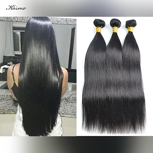 Brazilian Straight Human Hair Bundles Natural Color Double Machine Weft Free Shedding  Distangled 3Pcs/lot Sew in Human Hair