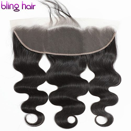Bling Hair Brazilian Body Wave Closure 13*4 Lace Frontal Free Middle Part Remy Human Hair Closure With Baby Hair Natural Color