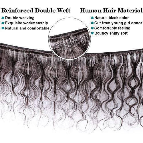 3/4 Bundles Body Wave With 4x4 Lace Closure Brazilian Hair Weaves Remy Human Hair Extension Long 30inch Bundles With Closure BY