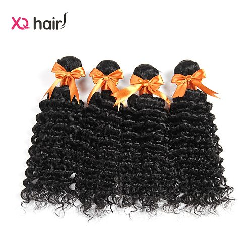 XQ Hair Brazilian Deep Curly 4 Bundles 100% Pure Human Hair Natural Black Color  Non Remy 8-26inch  Human  Hair  Extensions