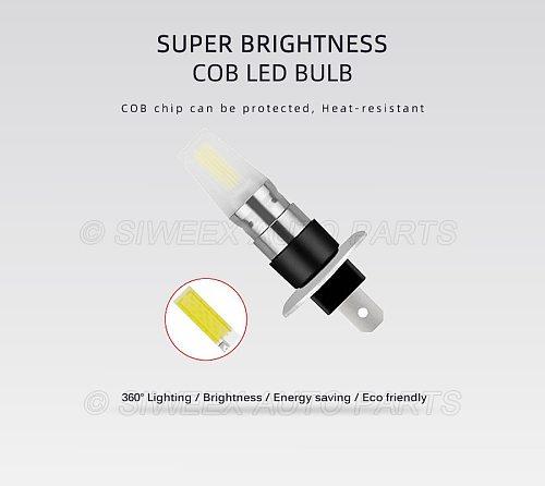 1 Pcs Super Bright H1 H3 Front Fog Lights Car Led Bulbs COB Lamp 12V DC White Ice Blue Yellow Green