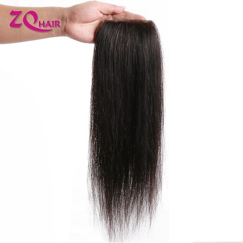 10-22 Inch Brazilian Straight Lace Closure Free Part For Women Remy Human Hair PU Silk Base Closure Pre Plucked Natural Color