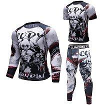 Brand New  BJJ MMA Work Out Compression Rashguard T Shirt Men VS PK Exercise 3D Fitness Tights Bodybuild Cross fit Rash Guard