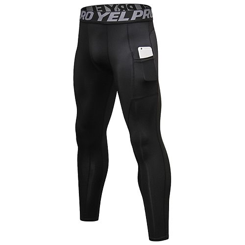 New Men Compression Pocket Sport Running Tights Men's Running Pants Gym Fitness Training Sport Jogging Men Slim Sport Trousers