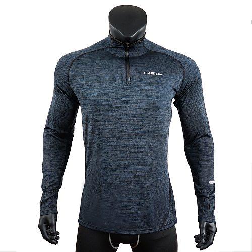 Mens Sports T-Shirt Sportswear Long Sleeve Running Gym Clothing Fitness Compression Shirt Zip Pullover Hiking Rashguard w42
