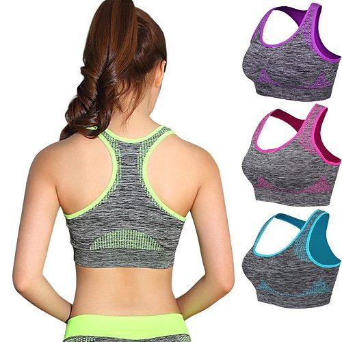 Shockproof Quick Dry Sports Bra Women Padded Gather Yoga Bra Push Up Gym Running Bra Seamless Workout Fitness Bra Top