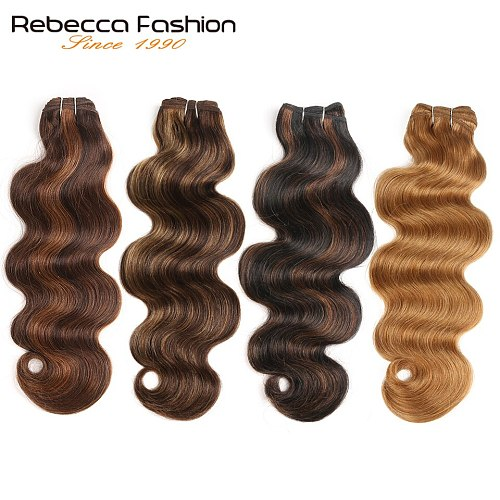 Rebecca Double Drawn Hair 113g Remy Brazilian Body Wave Human Hair Bundles P4/27 P1B/30 P4/30 Ombre Red Brown Black Colors