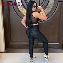 PinePear Jacquard Wrinkled Women Fitness Outfits High Waist Sports Suit Gym Clothes Yoga Set Workout Bra and Leggings Wholesale