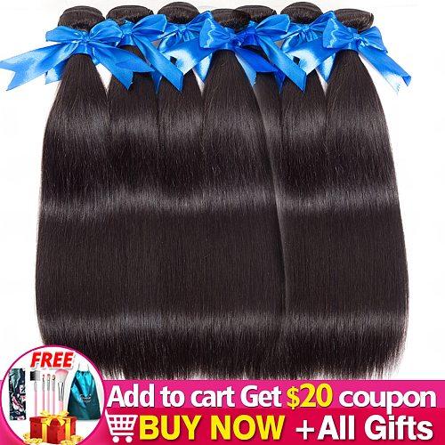 5-10 Bundles/Lot Wholesale Price Brazilian Straight Hair Weave 100% Remy Human Hair Extenstion Natural Black Bulk Jarin