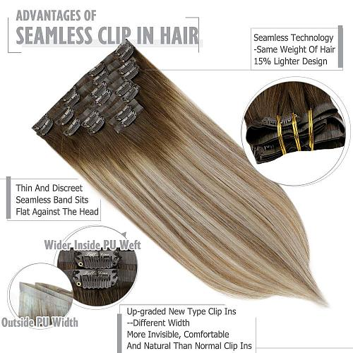 Full Shine Seamless Clip in Hair Extensions Remy Human Hair 8Pcs 100g PU Tape In Hair Extensions Ombre Blonde Color Skin Weft