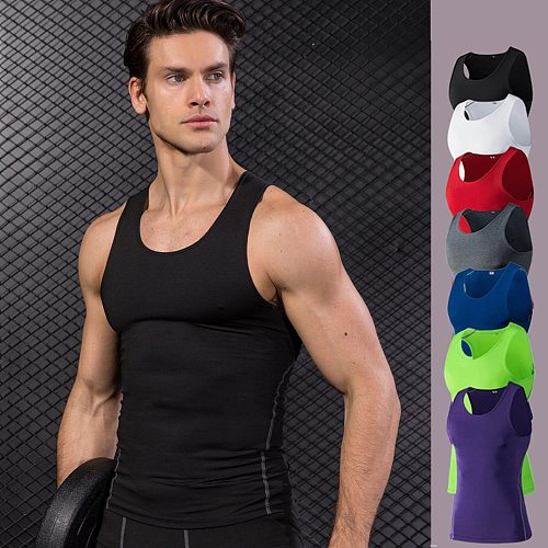 New 2019 Men Running Vest Sport Fitness Compression Sleeveless Tank Tops Fitness Workout Quick Dry Slimming T-Shirts Sports Vest
