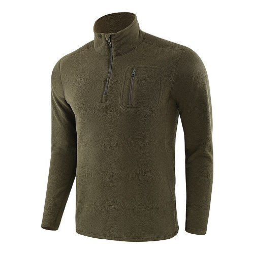 Outdoor Warm Fleece Tactical Shirt,Men Windproof Training Hiking Hunting T-Shirt,Long Sleeves Autumn Winter Pullover Tops