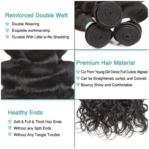 ALI GRACE Hair Brazilian Body Wave Hair 4 Bundles Human Hair Extention Remy Hair Natural Color 10-28 inch Free Shipping