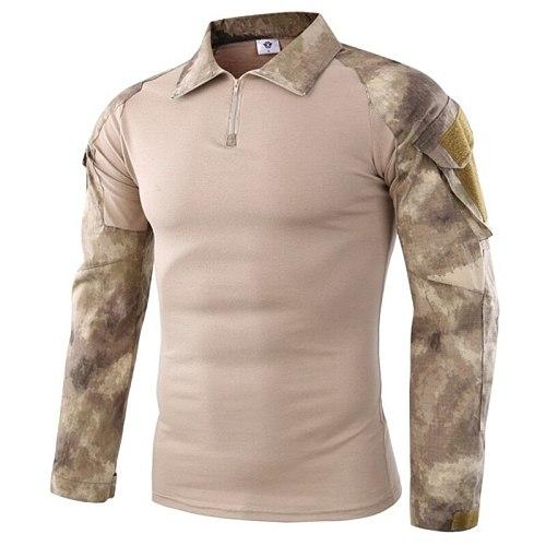 Field Combat Training Camo Long Sleeve Tactical Shirt Men Army Military Camping Hiking Hunting Camouflage Uniform Frog Shirt 5XL