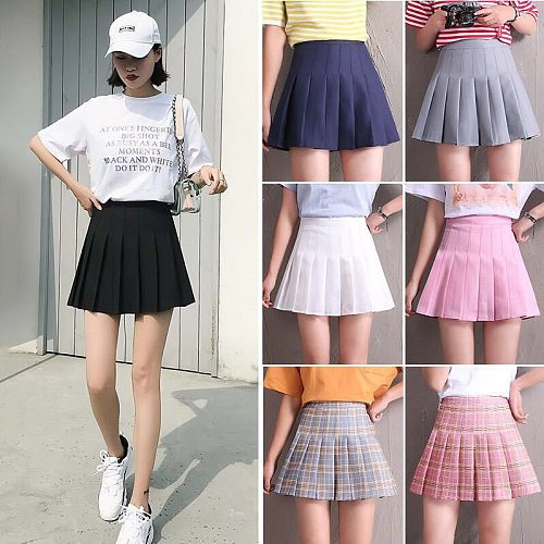 High Waist Skort Skirt School Student Short Dresses Pleated Tennis With Inner Shorts Girl Lady Skirt Uniform Badminton Yoga