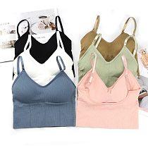 Sports Bras Women Girl Underwear Seamless Bra U Type Backless Bra Running Yoga Sport Tops Push Up Cotton Solid Sports Bra