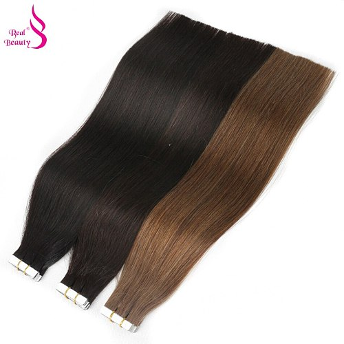 Real Beauty Straight Tape In Human Hair Extensions European Seamless Skin Weft 12 -28  100% Remy Hair Machine Made