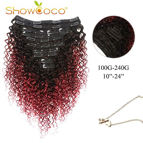 Clip In Hair Extensions Human Hair Curly Natural T1B/Bug Machine-made Remy Hair Clip In 10-24 Inch ShowCoco Clip In Extensions