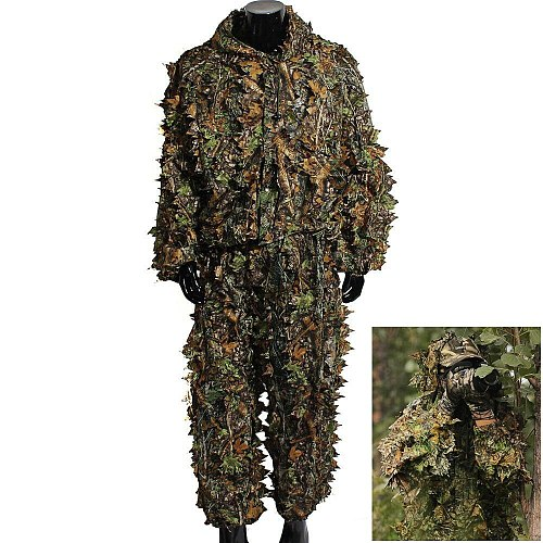 Hunting Clothes Ghillie Suits Maple Leaf Hooded 3D Bionic Training Uniform Military Sniper Cloak Camouflage Birdwatch Clothing