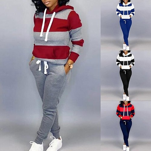 2021 Spring Autumn 2 Piece Sweat Set Hoodies Sweatshirt Harem Pants Casual Sports Suit For Women Striped Tracksuit Joggers Suits
