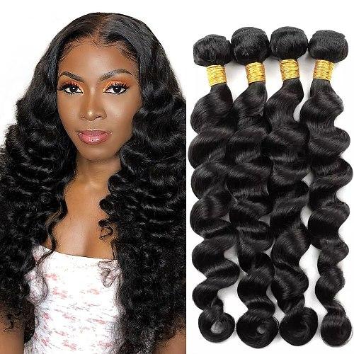 Loose Wave Bundles Brazilian Human Hair Loose Bundles Remy 1/3/4 /Pcs Lot Loose Natural Black 100% Human Hair Extension