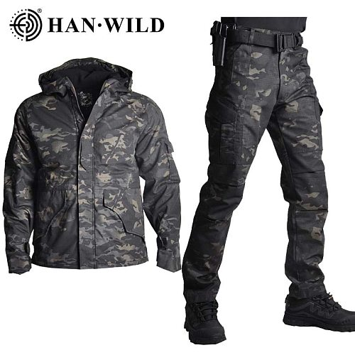 G8 Jacket Set with Pants Camouflage Military Army Tactical Uniform Combat Pants Hunting Clothes Airsoft Hiking Suit Adjustable