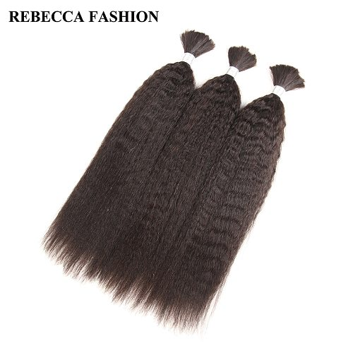 Rebecca Brazilian Remy Yaki Straight Bulk Human Hair For Braiding 10 to 30 Inch Natural Color Hair Extensions