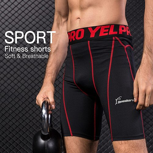 Queshark Men Compression Training Running Shorts Solid Color Base Layer Tights Basketball Workout Performance Gym Short Pants