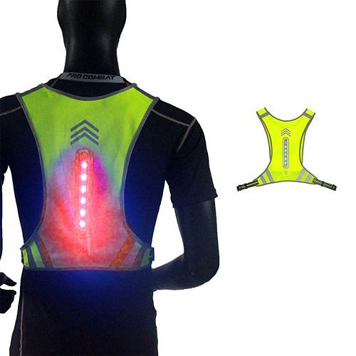 LED Night Safe Riding Reflective Vest Outdoor Running Safety Jogging Breathable Visibility Vest Cycling Riding 200m Reflective