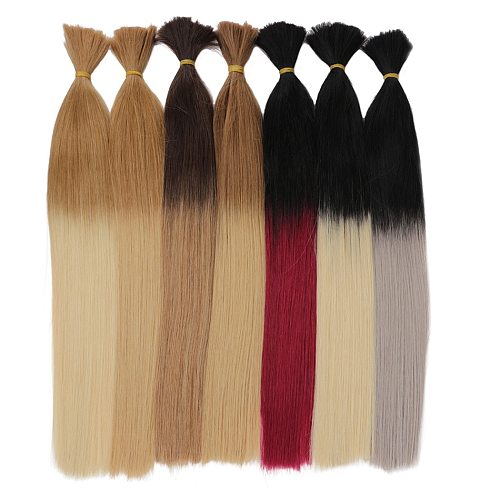 Real Beauty Ombre Colored Brazilian Remy Straight Bulk Human Hair For Braiding No Weft Hair Extensions 45cm to 60cm