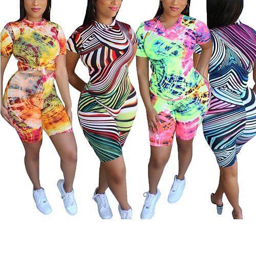 Women Tie Dye Casual Two-pieces Sportswear Female Fashion Short Sleeve+Shorts Tracksuits Bodycon Sport Summer Set Outfits