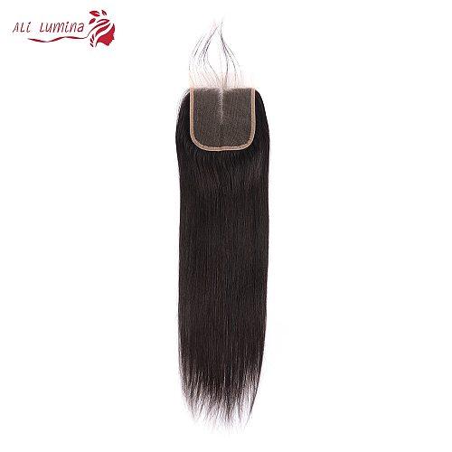 4x4 Lace Closure 100% Human Hair Closure HD Transparent Brazilian Hair Weaving  Remy Hair Straight Frontal 8 Inches Short Hair