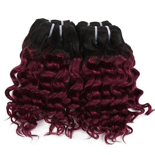 "Real Beauty Deep Wave Ombre 1B/27 Remy Human Hair Bundles 50g Two Tone Honey Blonde 8"" Short Bob Style Brazilian Hair Weave"