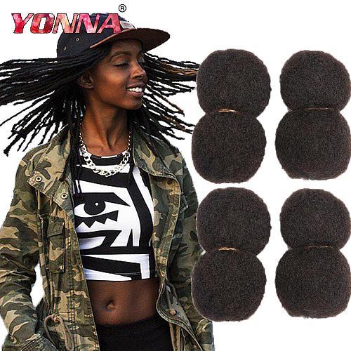 YONNA Tight Afro Kinky Bulk Human Hair 100% Human Hair For Dreadlocks,Twist Braids Human Hair Extensions 4pcs/lot,30g/pcs