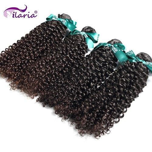 ILARIA Brazilian Virgin Kinky Curly Hair 4 Bundles 100% Curly Human Hair Weave Bundles Natural Color Human Hair Extensions