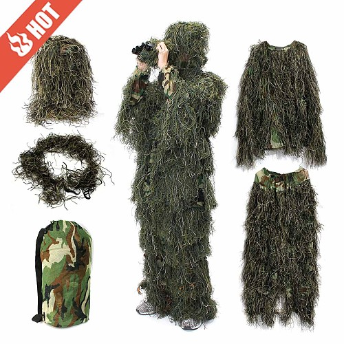 3D Universal Camouflage Hunting Ghillie Suits Woodland Clothes Adjustable Shooting Clothing For Army Military Tactical Sniper