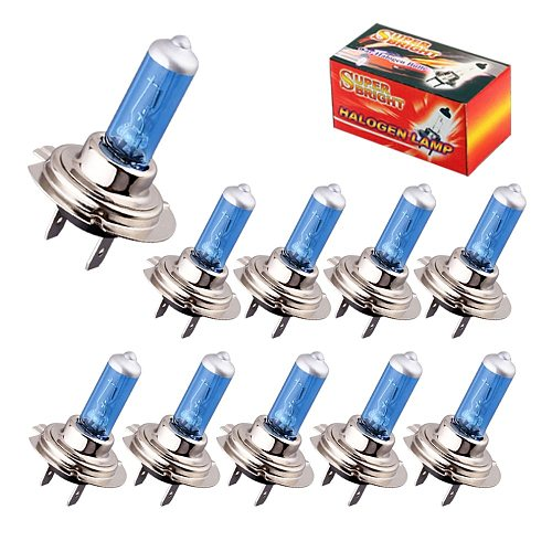 10pcs Halogen H7 55W 12V Headlight Bulbs Halogen 5000K Bright White Car Fog Light Driving Lamp DRL Day Running Light Source