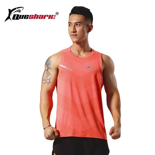 Queshark Professional Men Quick Dry Sleeveless Running Vest Marathon Jogging T Shirt Outdoor Fitness Loose Training Tops