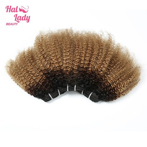 Halo Lady Beauty Afro Kinky Wave Human Hair Extensions Ombre Color 1B/4/27 Brazilian Remy Hair Weaves For African America Women