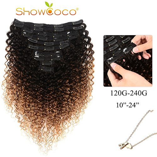 ShowCoco Human Hair Clip In Extensions T1b/4/27 Color Curly Clip Ins Machine-made Remy Hair 10-24 Inches Clip In Hair Extensions
