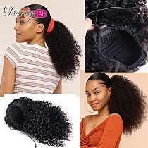 Kinky Curly Human Hair Extension Drawstring Ponytail Afro Hair Natural Hair Clip In Ponytail For Women Black Remy Brazilian Hair