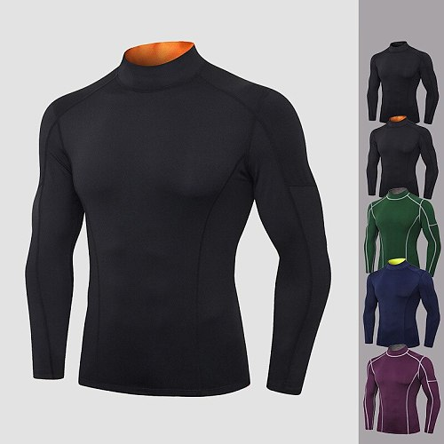 High Collar Shirt for Men Compression T Shirts Homme Thermal Underwear Running Tights Skinny Sportswear Quick Dry Gym Clothing