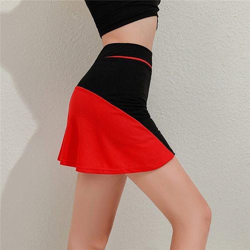 Mini Sport Skirt Women Golf Badmintion Running Tennis Ruffled Skirt High Waist Skort Sport Patchwork Quick Dry For Cycling Yoga