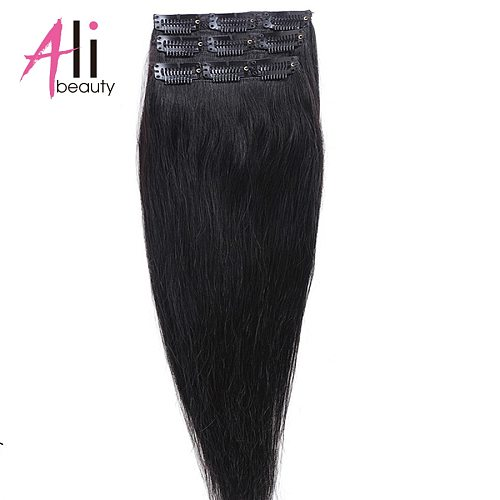 ALI BEAUTY 100% Remy Brazilian clip in human hair Extenions Straight Hair 3pieces/set Clip In Hair 90g