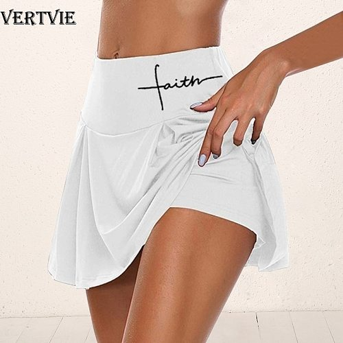 LOOZYKIT Women Sport Athletic Skirted Yoga Shorts Letter Print Pleated Fitness Tennis Skirt Workout Anti-emptied 2in1 Bike Short