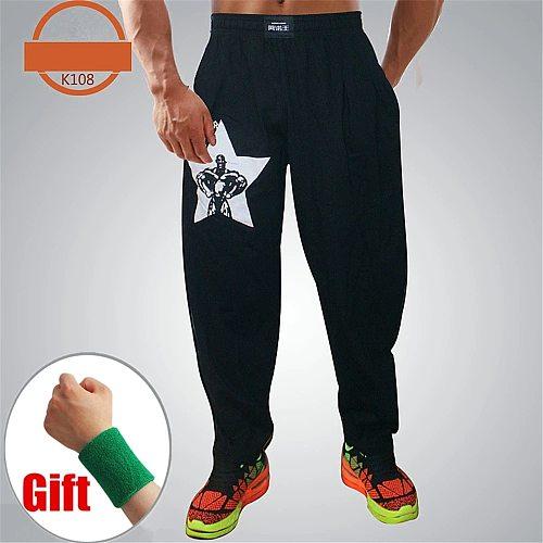 Men Bodybuilding Baggy Pants High Elastic Cotton Gym Clothing Fitness Loose Comfortable Crossfit Jogger Musculation Sweatpants