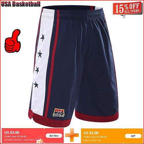 NEW 2021 Summer Outdoor USA Team Basketball Shorts Male Athletic Gym Sport Running Knee Length elastic loose Plus size M-3XL HOT