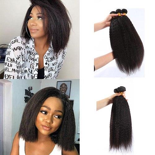 Kinky Straight Bundles 100% Human Hair Weave Bundles Non-Remy Coarse Yaki Straight Hair Weave 3/4 Pc/Lot Cheap Hair Bundles